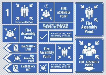 evacuacion: Conjunto de salida de emergencia salida signo de fuego, salida de emergencia, punto de reunión de fuego, carril de evacuación. Vectores