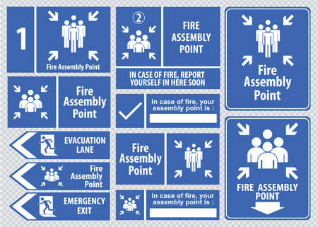 assembly point: Set of emergency exit Sign fire exit, emergency exit, fire assembly point, evacuation lane.
