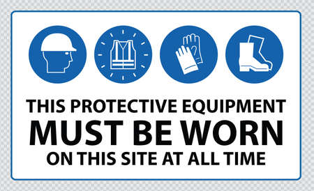 Mandatory signs at construction zone hard hats, hi-vis vest, hand and foot protection must be worn Illustration