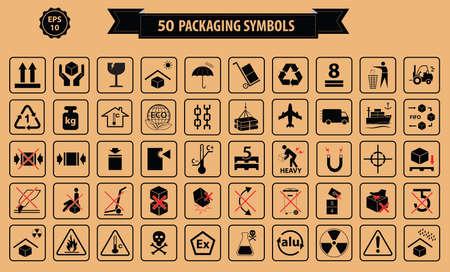 at symbol: Set di scatole e cartone segno, isolato. Vettoriali