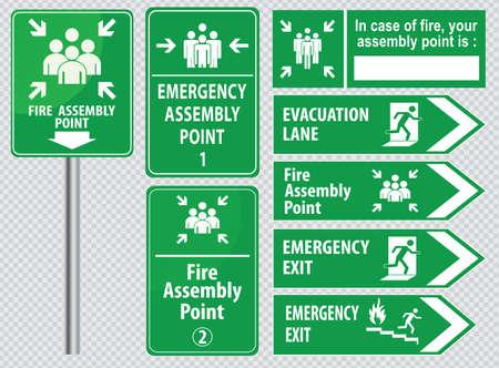 evacuacion: Conjunto de salida de emergencia salida signo de fuego, salida de emergencia, punto de reuni�n de fuego, carril de evacuaci�n. Vectores
