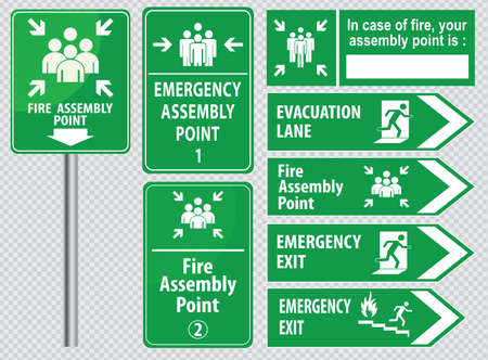 evacuation: Set of emergency exit Sign fire exit, emergency exit, fire assembly point, evacuation lane.