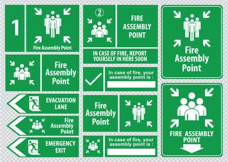 evacuation: Conjunto de salida de emergencia salida signo de fuego, salida de emergencia, punto de reuni�n de fuego, carril de evacuaci�n. Vectores