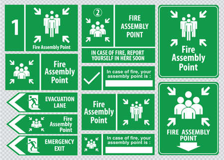 assembly line: Set of emergency exit Sign fire exit, emergency exit, fire assembly point, evacuation lane.