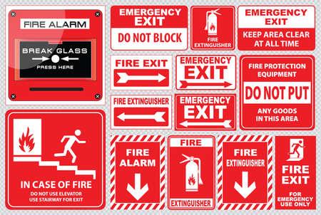bombero de rojo: Conjunto de alarma de incendio alarma de incendio, rotura de cristal, pulse aqu�, salida de incendios, s�lo para uso de emergencia, salida de emergencia, no bloquee, extintor de fuego, f�cil de modificar Vectores