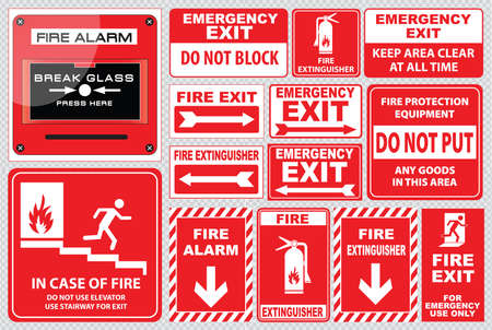 emergency: Set of Fire Alarm fire alarm, break glass, press here, fire exit, for emergency use only, emergency exit, do not block, fire extinguisher, easy to modify