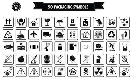 simbol: Set di scatole e cartone segno, isolato. Vettoriali