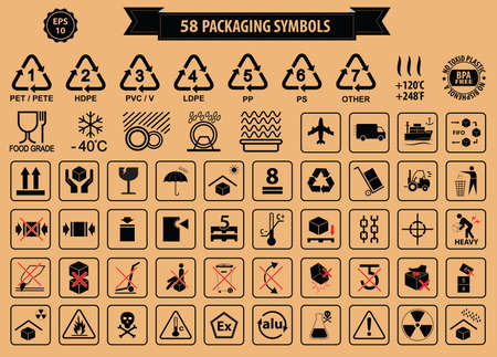 simbolo: Conjunto de cajas y cartel de cartón, aislados. Vectores