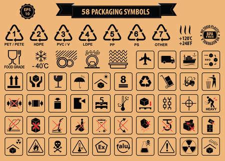 simbolo: Set di scatole e cartone segno, isolato. Vettoriali
