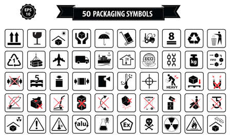 symbole: Set de boîtes et panneau en carton, isolées.