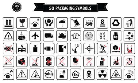 Zestaw pudełek i tektury znak, samodzielnie. Ilustracje wektorowe