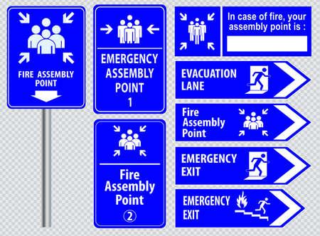 signos de precaucion: Conjunto de salida de emergencia salida signo de fuego, salida de emergencia, punto de reunión de fuego, carril de evacuación. Vectores
