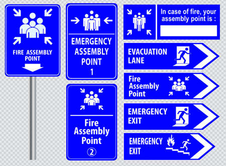 evakuierung: Set of emergency exit Sign fire exit, emergency exit, fire assembly point, evacuation lane.