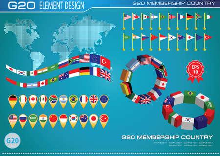 world flag: G20 countries flags
