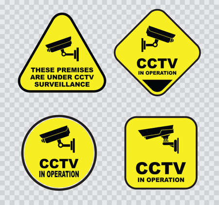 closed circuit: set of Closed Circuit Television CCTV Signs.