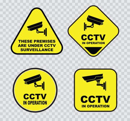 signos de precaucion: un conjunto de circuito cerrado de televisión CCTV de los signos.