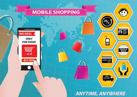 purchases: On-line Shopping or mobile commerce illustration Illustration