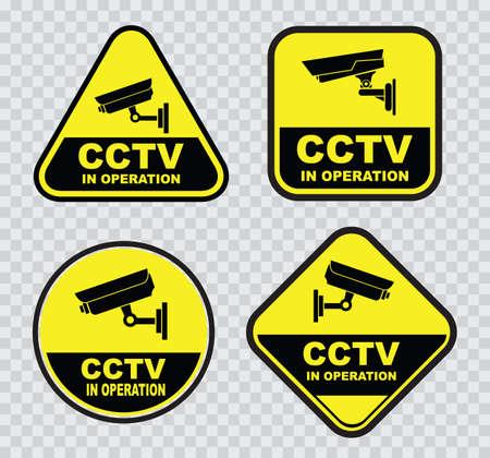 advertencia: un conjunto de circuito cerrado de televisi�n CCTV de los signos.