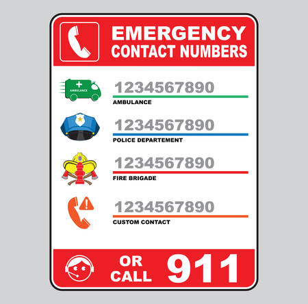 warning signs: emergency call number sign ambulance, police department, fire brigade, custom number 911