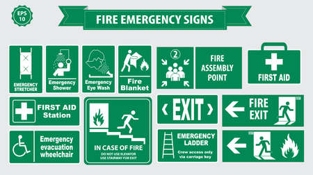 building fire: Set of emergency exit Sign fire exit, emergency exit, fire assembly point, evacuation lane, Fire Extinguisher, For Emergency use only, no re-entry to building.