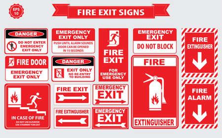 Noodsituatie van de brand borden noodstop, breken glas, alarm geluid, slanghaspel, brandalarm Stock Illustratie