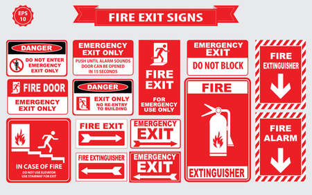 Fire Emergency signs emergency shut-off, break glass, alarm sound, hose reel, fire alarm Illustration