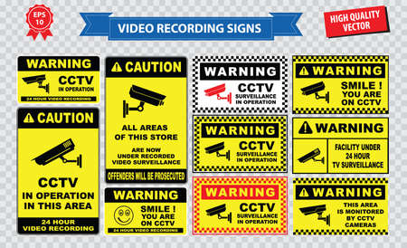 closed circuit: set of Closed Circuit Television CCTV Signs Illustration