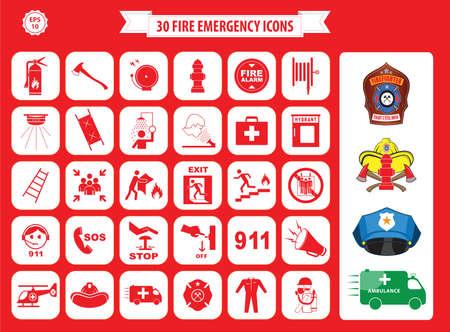 salida de emergencia: Conjunto de iconos de emergencia de incendio salida de incendios, salidas de emergencia, punto de reunión de fuego, escalera, hacha, extintor de fuego, carrete de manguera, alarma, lavado de ojos, salida de emergencia, 911, boca de riego, primeros auxilios, ambulancia, insignia