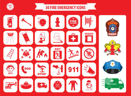 building fire: Set of fire emergency icons fire exit, emergency exit, fire assembly point, ladder, axe, fire extinguisher, hose reel, alarm, eye wash, fire exit, 911, hydrant, first aid, ambulance, badge Illustration