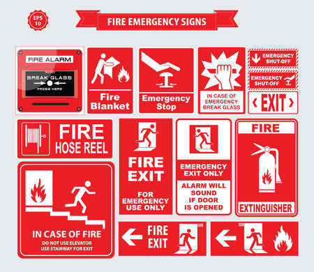 Fire Emergency signs emergency shut-off, break glass, alarm sound, hose reel, fire alarm Ilustração