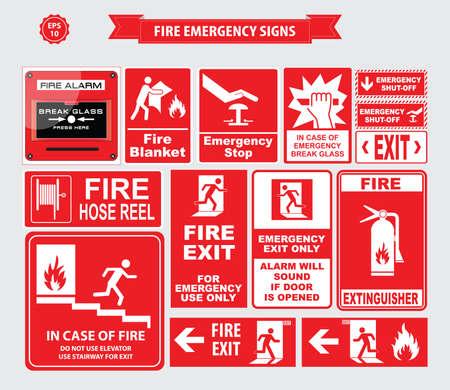 green exit emergency sign: Fire Emergency signs emergency shut-off, break glass, alarm sound, hose reel, fire alarm Illustration