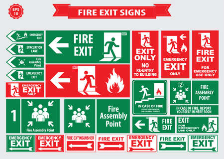 a sign: Set of emergency exit Sign fire exit, emergency exit, fire assembly point, evacuation lane, Fire Extinguisher, For Emergency use only, no re-entry to building.
