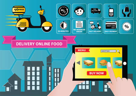 fast food restaurant: food delivery with mobile order concept illustration, easy to modify Illustration