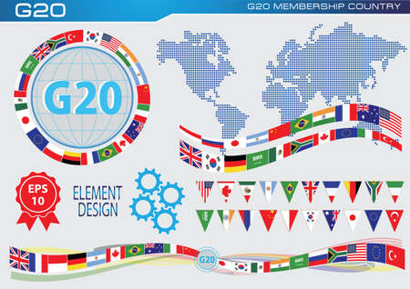 banderas del mundo: banderas de países del G-20 o banderas de los países del G20 económicas mundiales ilustración de la bandera. fácil de modificar Vectores