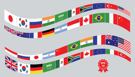 economics: G20 countries flags or flags of the world economic G20 countries flag illustration . easy to modify Illustration