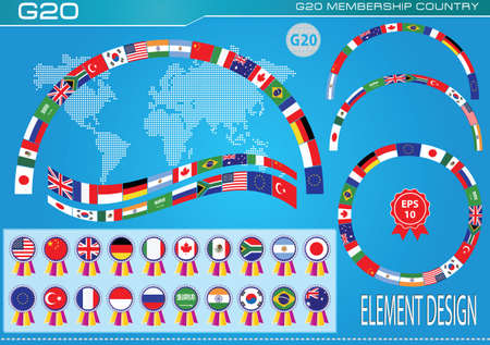 g20: G20 countries flags or flags of the world economic G20 countries flag illustration . easy to modify Illustration