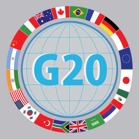 world trade: G20 countries flags or flags of the world economic G20 countries flag illustration . easy to modify Illustration