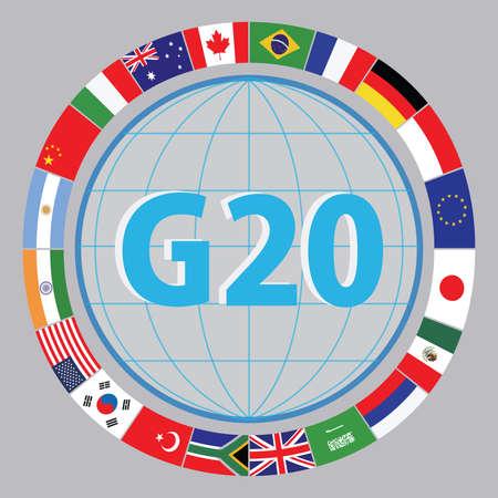 G20 drapeaux de pays ou drapeaux des pays du G20 économiques de drapeau du monde illustration. facile à modifier Banque d'images - 52492933