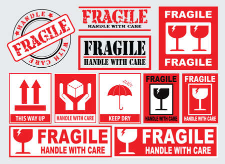 Fragile sign naklejki. łatwe do modyfikowania