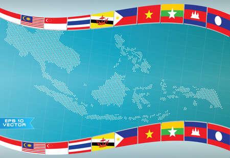 AEC of ASEAN of info grafische Zuidoost-Aziatische design element vlag illustratie. makkelijk aan te passen Stock Illustratie