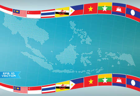 asean: Aec or asean or info graphic south east asian design element flag illustration. easy to modify