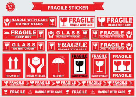 fragile: Fragile Sticker sign. easy to modify