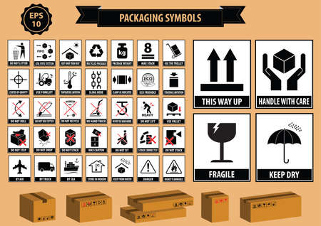 hazard: Set Of Packaging Symbols this side up, handle with care, fragile, keep dry, keep away from direct sunlight, do not drop, do not litter, use only the trolley, use fifo system, max carton, recyclable