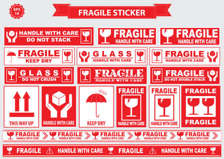 Fragile Sticker sign. easy to modify Stok Fotoğraf - 52492939