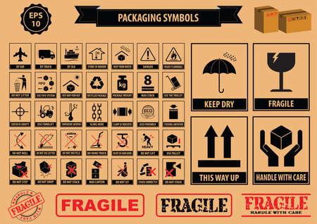 Conjunto de símbolos de embalaje este lado hacia arriba, manejar con cuidado, frágil, mantener seco, mantener alejado de la luz solar directa, no lo deje caer, no tire basura, utilizar sólo el carro, el uso del sistema FIFO, cartón max, reciclable
