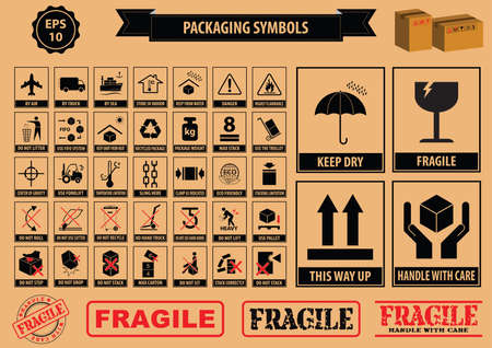 care: Set Of Packaging Symbols this side up, handle with care, fragile, keep dry, keep away from direct sunlight, do not drop, do not litter, use only the trolley, use fifo system, max carton, recyclable