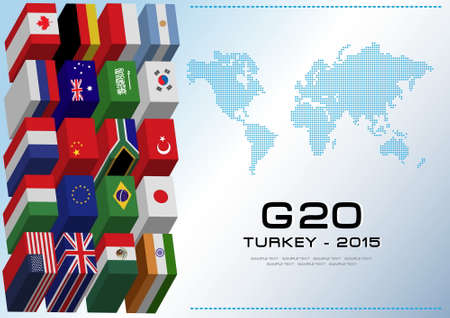 modify: G20 countries flags or flags of the world economic G20 countries flag illustration . easy to modify Illustration