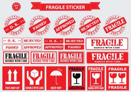 signo de la etiqueta engomada frágil. fácil de modificar