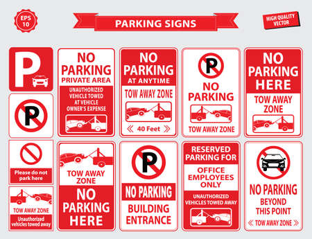 car road: Car Parking Sign car parking area, ramp access, customer only, employee parking, way in, way out, visitor parking, building entrance. easy to modify. Illustration