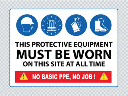 worn sign: Mandatory sign for construction zone hard hats, hi-vis vest, hand and foot protection must be worn